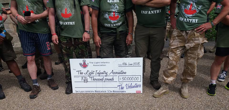 James Cohen completed a 50mile sponsored walk and helped raise over £50,000 for The Light Infantry Association
